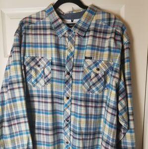 Mens Akoo Long Sleeve Plaid Button Down Shirt 4XL